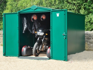 The Asgard motorcycle Garage offers maximum security for your motorbike.
