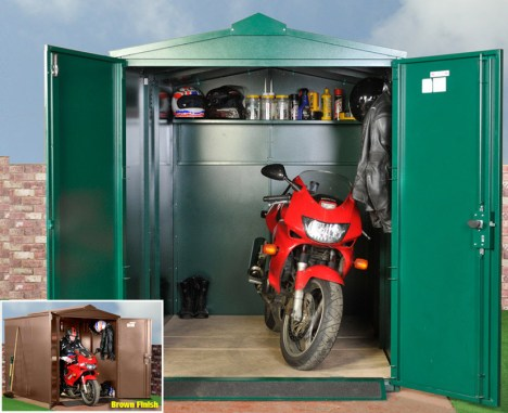Prevent Bike theft with the Asgard Motorbike Storage Unit.