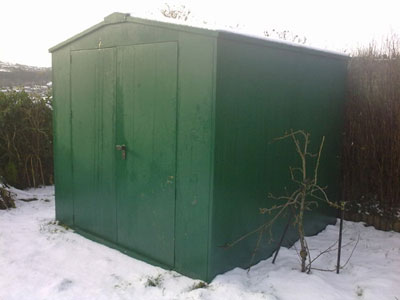 Sheds and bike stores in the snow